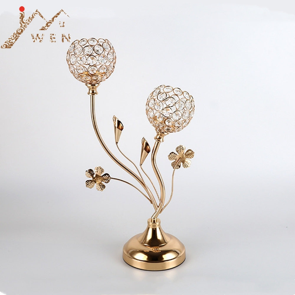 2-Arms Crystal Gold Candle Holders -  | HERS.BOUTIQUE