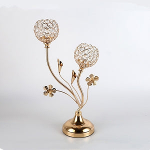 2-Arms Crystal Gold Candle Holders - Golden | HERS.BOUTIQUE