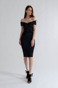 Black Midi Dress with Off Shoulder