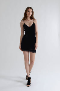 Black Velvet Lace Mini Dress