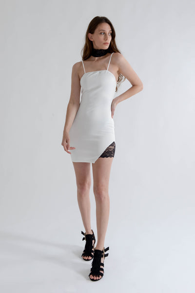 White Bodycon Mini Dress with Lace Choker