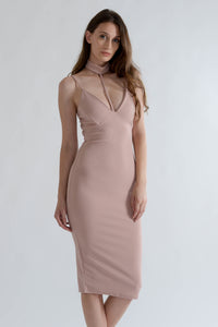 Rose Choker Midi Dress