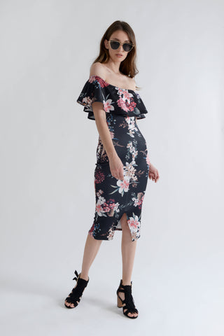 Black Floral Bardot Bodycon Dress