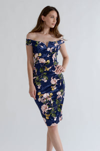 Blue Crushed Velvet Floral Dress with Off Shoulders