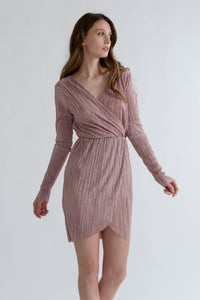 Rose Wrap Over Pleated Dress