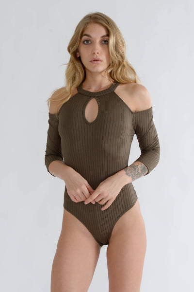 Khaki Cold Shoulder Bodysuit
