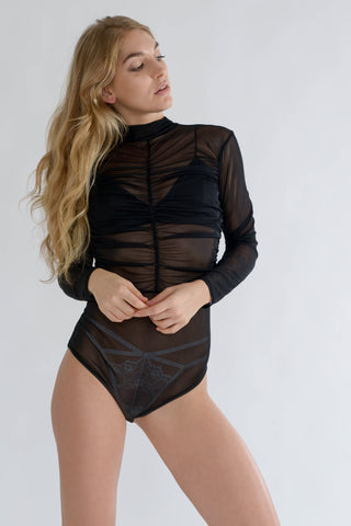 Black Mesh Gathered Bodysuit with High Neck