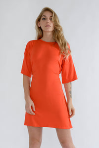Orange Oversized Belted T Shirt Dress