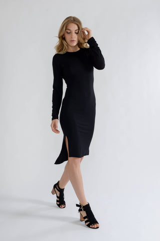 Black Long Sleeve Midi Bodycon Dress