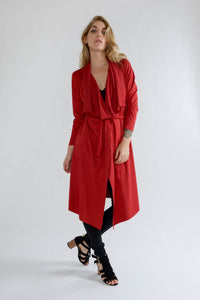 Wine Suede Long Waterfall Jacket