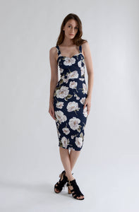 Navy Floral Dress with Straps
