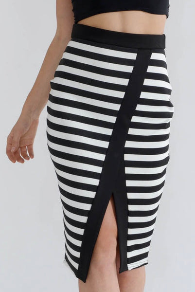 Black Striped Front Split Midi Skirt
