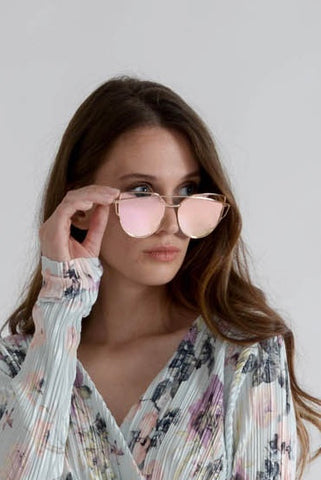 Pink Metallic Cateye Sunglasses
