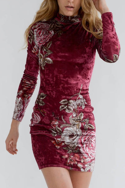 Wine Crushed Velvet Floral Dress with High Neck