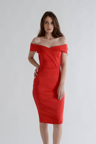 Red Midi Dress with Off Shoulder