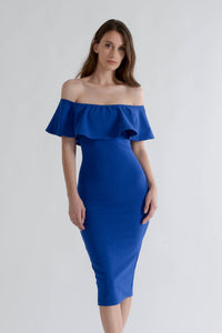 Blue Bodycon Midi Dress with Off Shoulders
