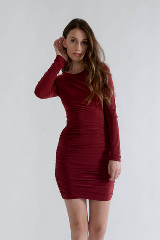Burgundy Slinky Dress with Open Back