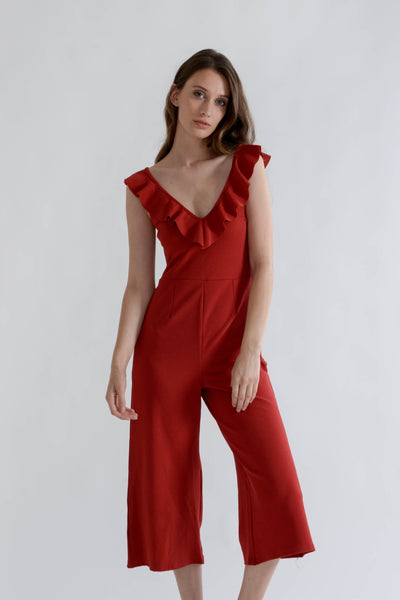 Burnt Red Sleeveless Jumpsuit with Frilled Open Back
