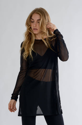 Black Mesh Oversized Top with Side Slit
