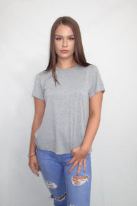 Grey T Shirt with Knotted Open Back