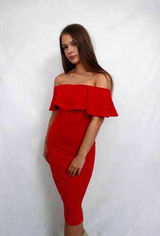 Red Bodycon Midi Dress with Off Shoulders