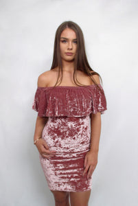 Pink Crushed Velvet Bodycon Midi Dress with Off Shoulders