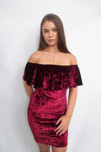 Wine Crushed Velvet Bodycon Midi Dress with Off Shoulders