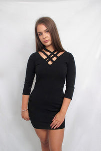 Black Double Cross Neck Dress