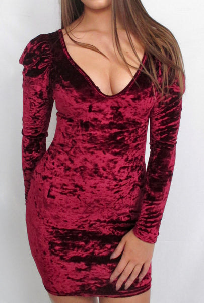 Wine Crushed Velvet Balloon Sleeve Dress