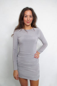 Grey Slinky Dress with Open Back
