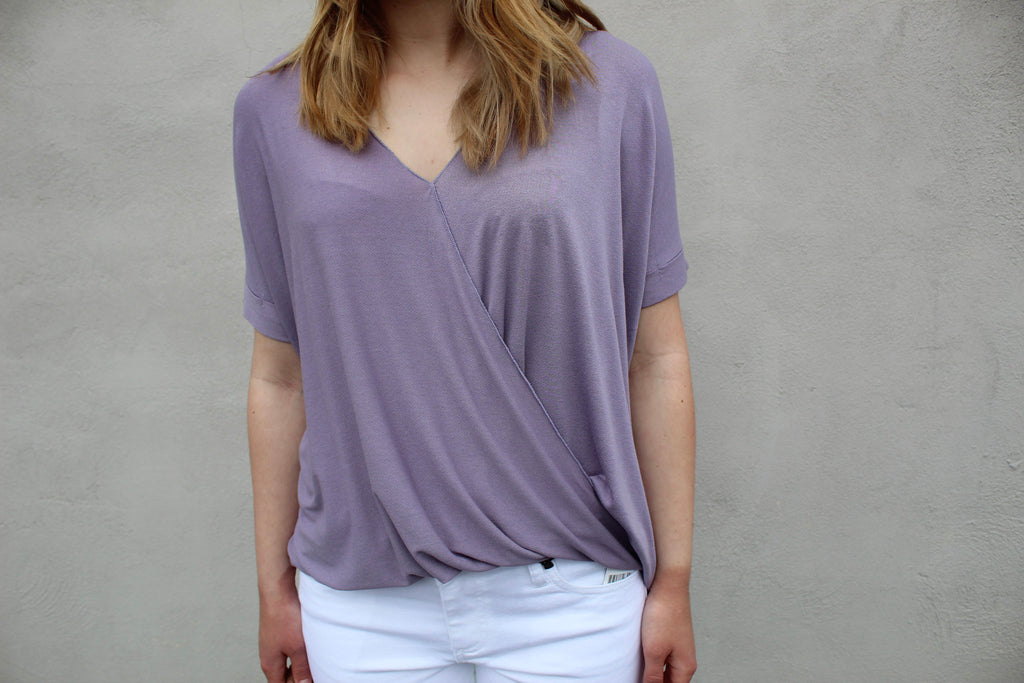 zElla Faux Wrap Top in Lavendar