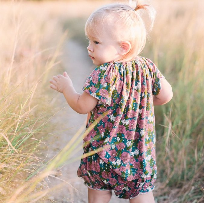 Milkbarn Bamboo Dress + Bloomer Set Teal Floral