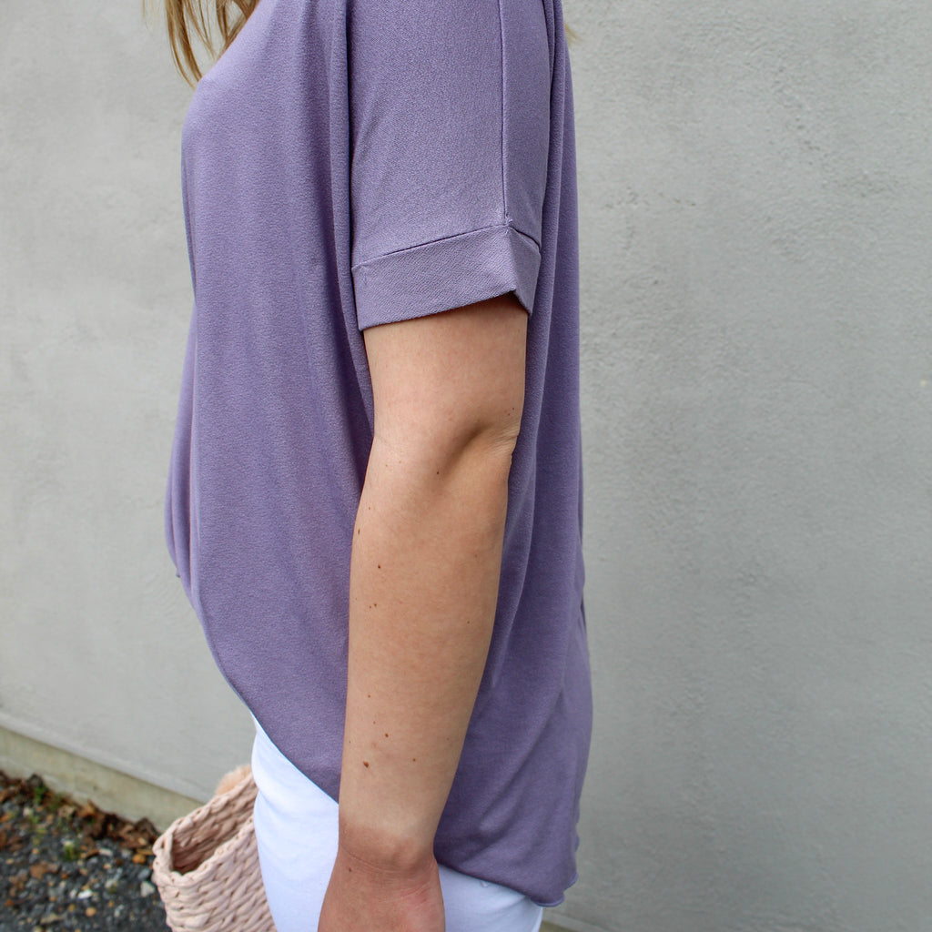Ella Faux Wrap Top in Lavendar