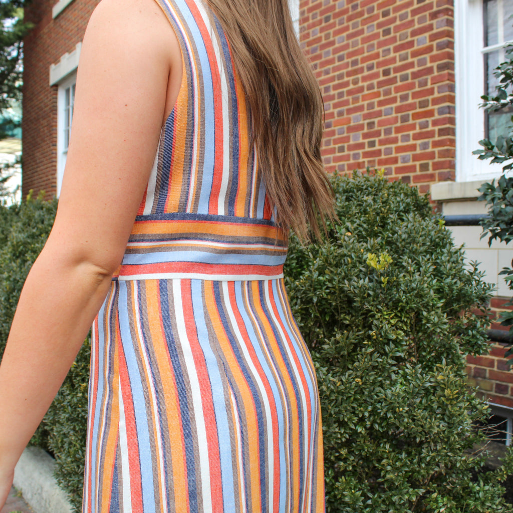 Multi Color Striped Midi Dress