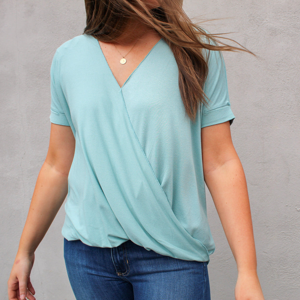 Ella Faux Wrap Top in Seafoam