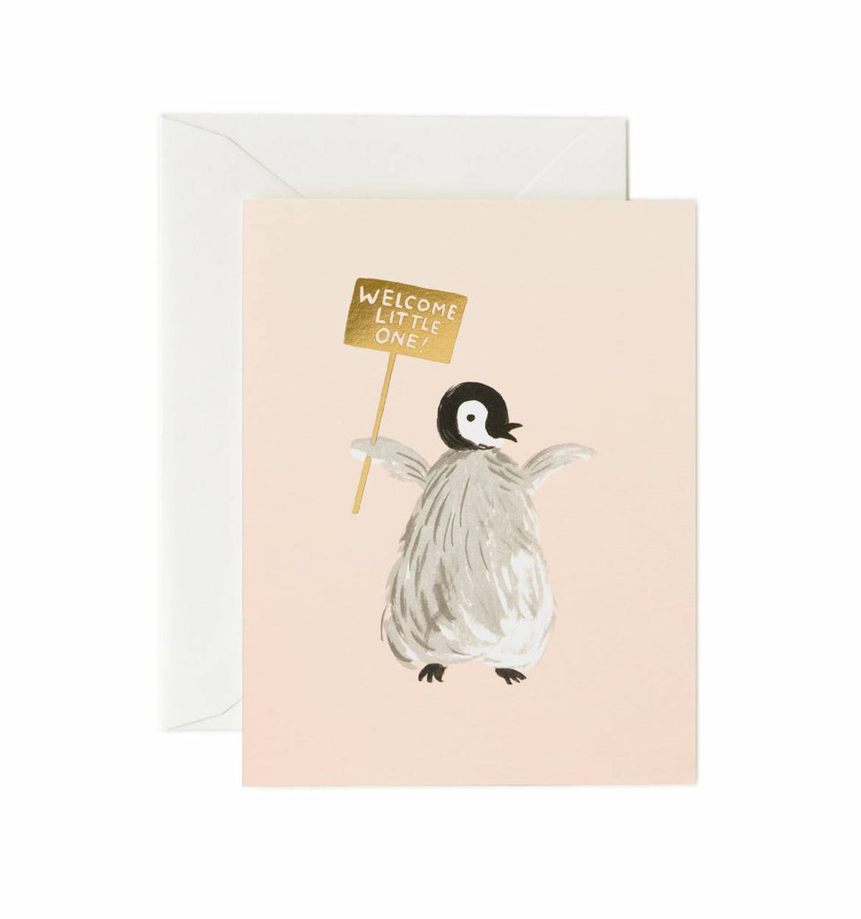 Rifle Paper Co. Welcome Penguin Baby Greeting Card