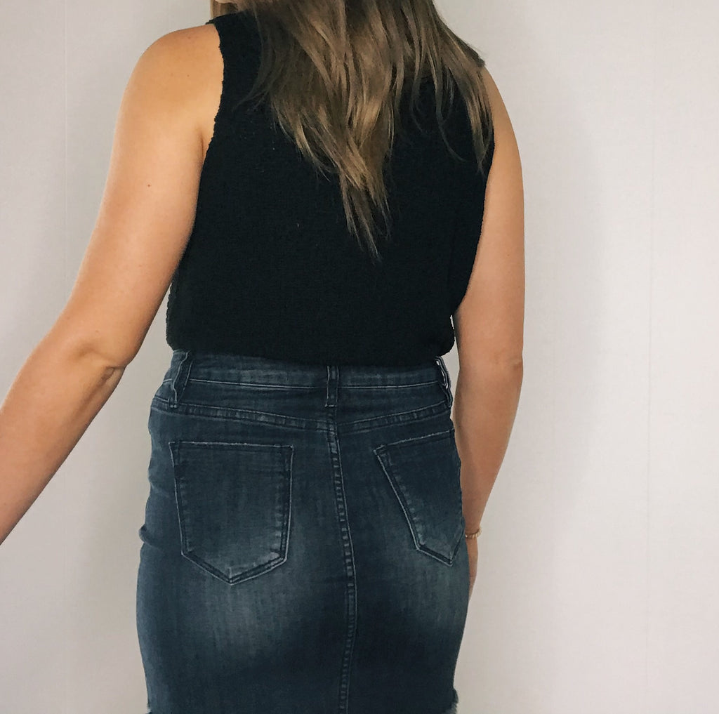Lottie Jean Skirt in Denim Black