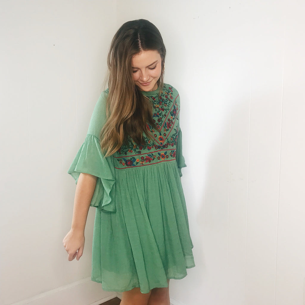 z Lucy Sage Dress with Embroidery