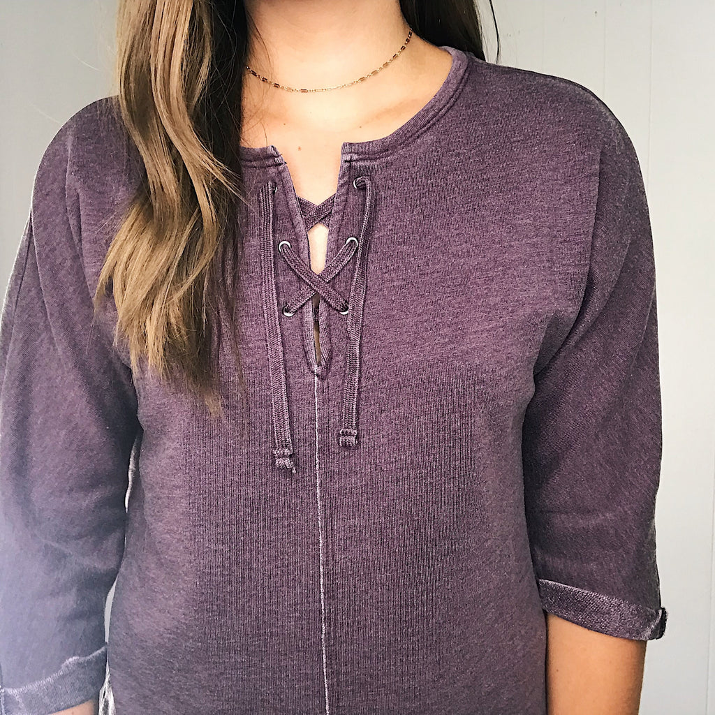 Jag Debbie Lace Up Top in Purple Plum