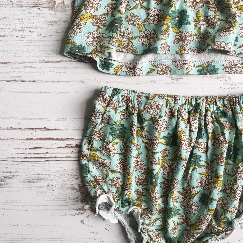 Milkbarn Bamboo Dress + Bloomer Set - Blue Floral