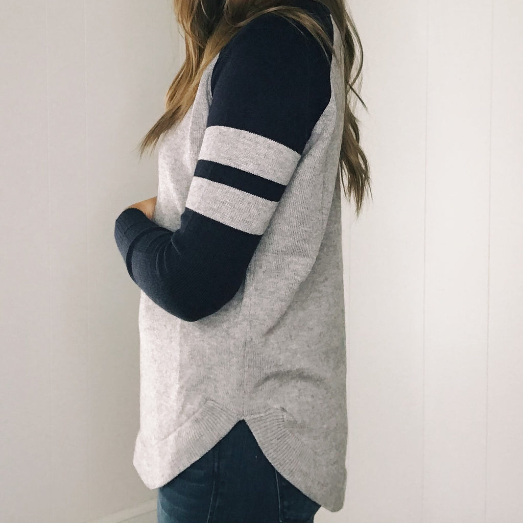 Put Me in Coach Raglan Sweater in Gray/Navy