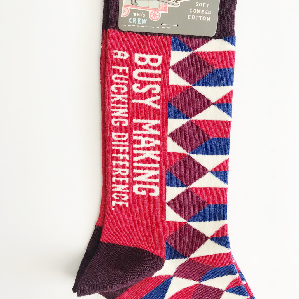 Blue Q Busy Making a F*cking Difference Men's Crew Socks