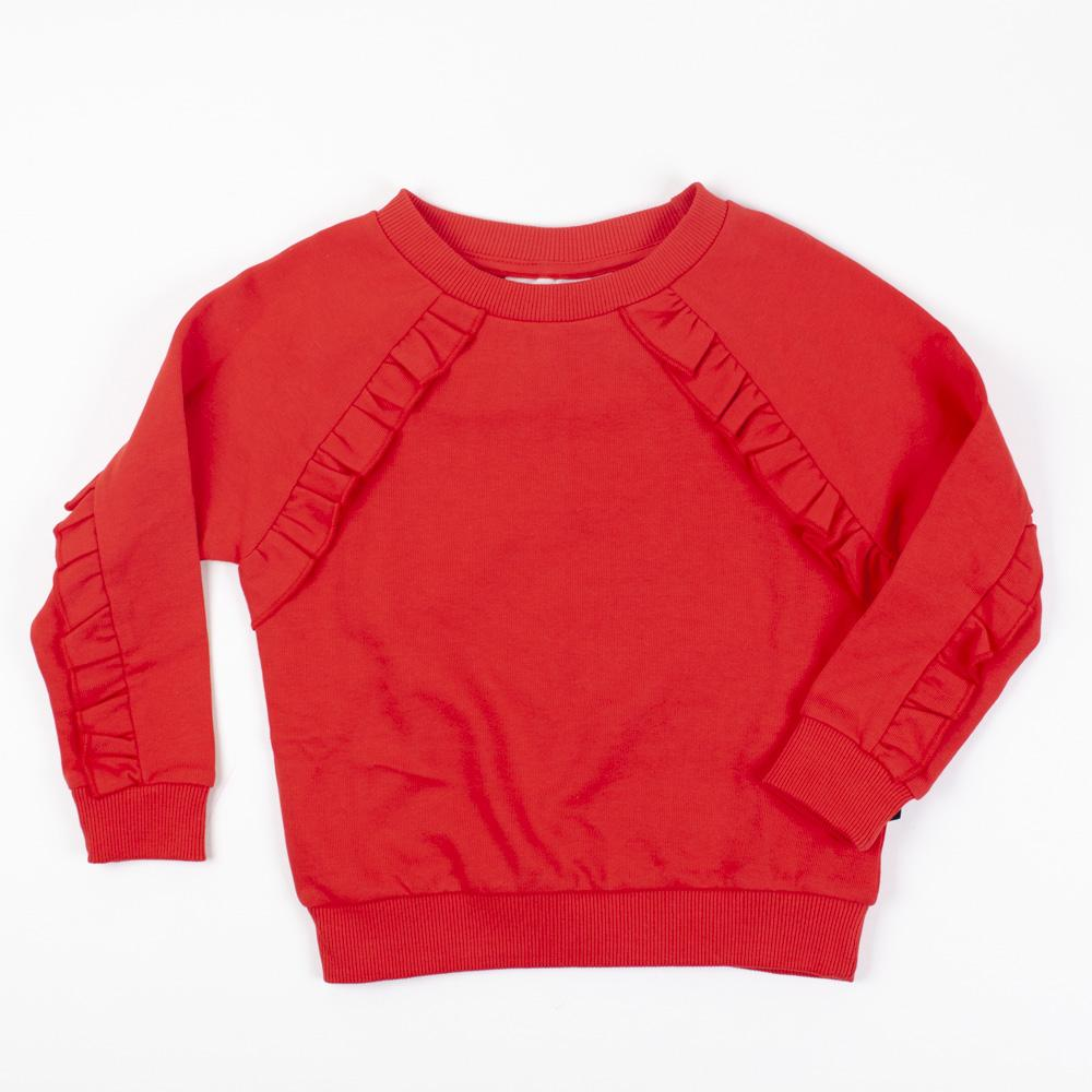 Red Ruffled Sweatshirt