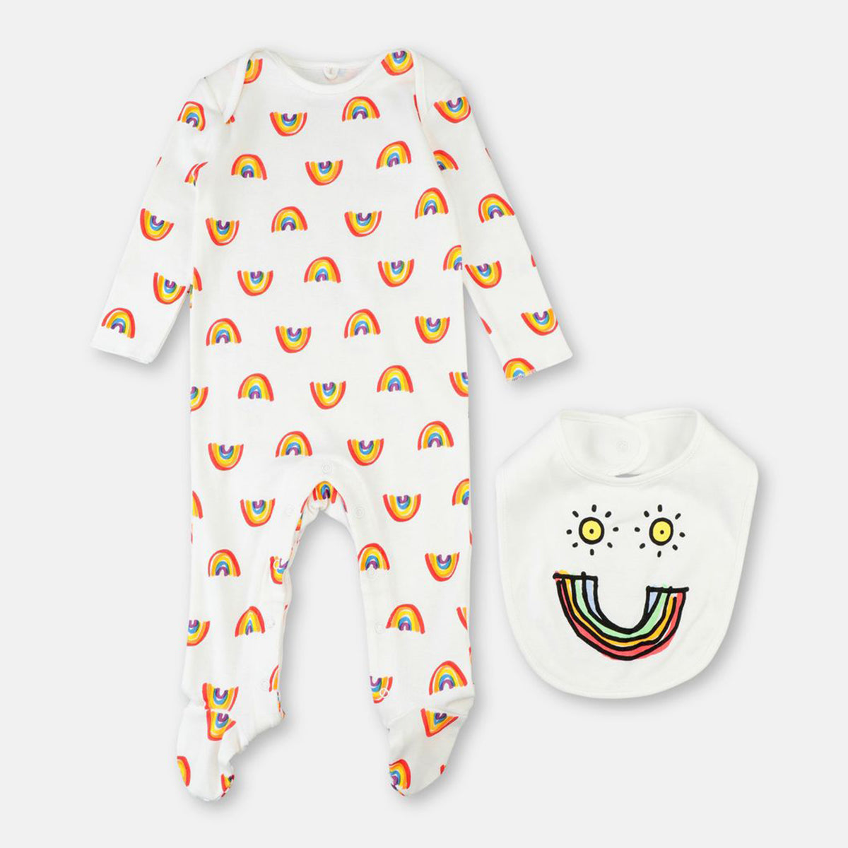 Rainbow Footie and Bib Set