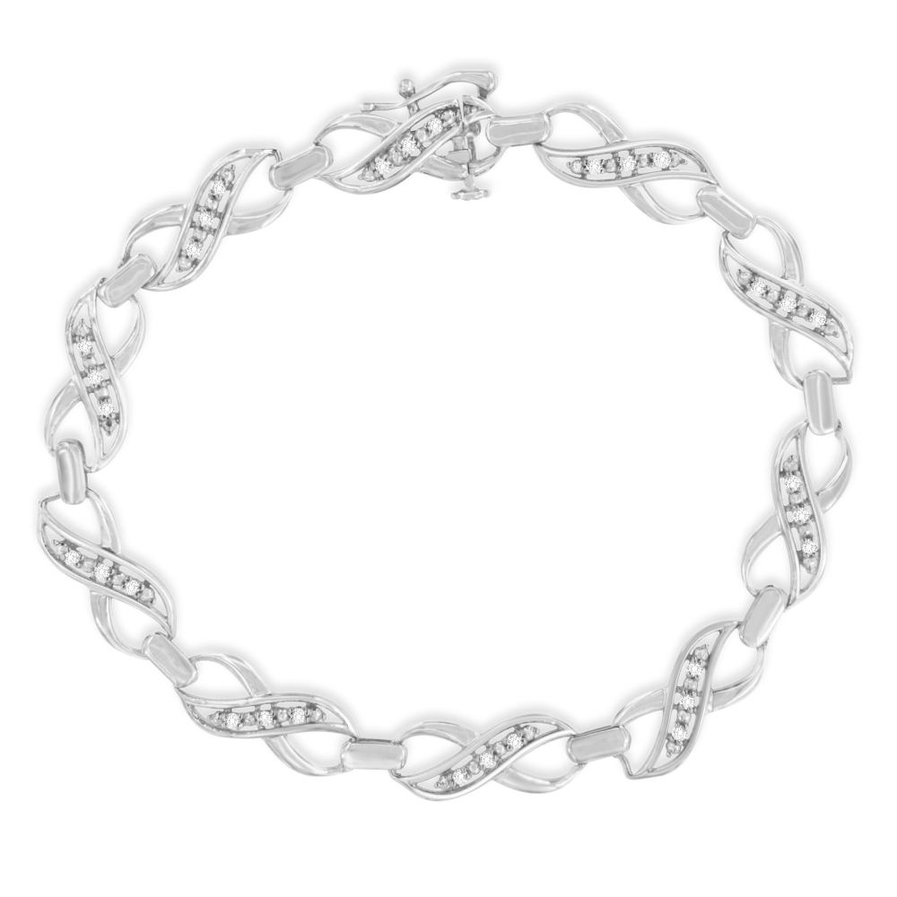 Sterling Silver 1ct TDW Rose Cut Diamond X-Link Tennis Bracelet (I-J,I2-I3)