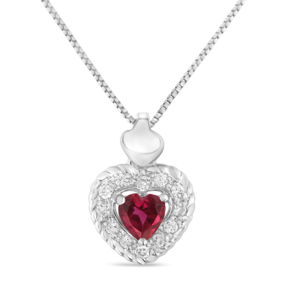 Graceful Sterling Silver 0.34ct TDW Ruby Heart and Diamond Heart Shape Pendant Necklace (I-J,I2-I3)