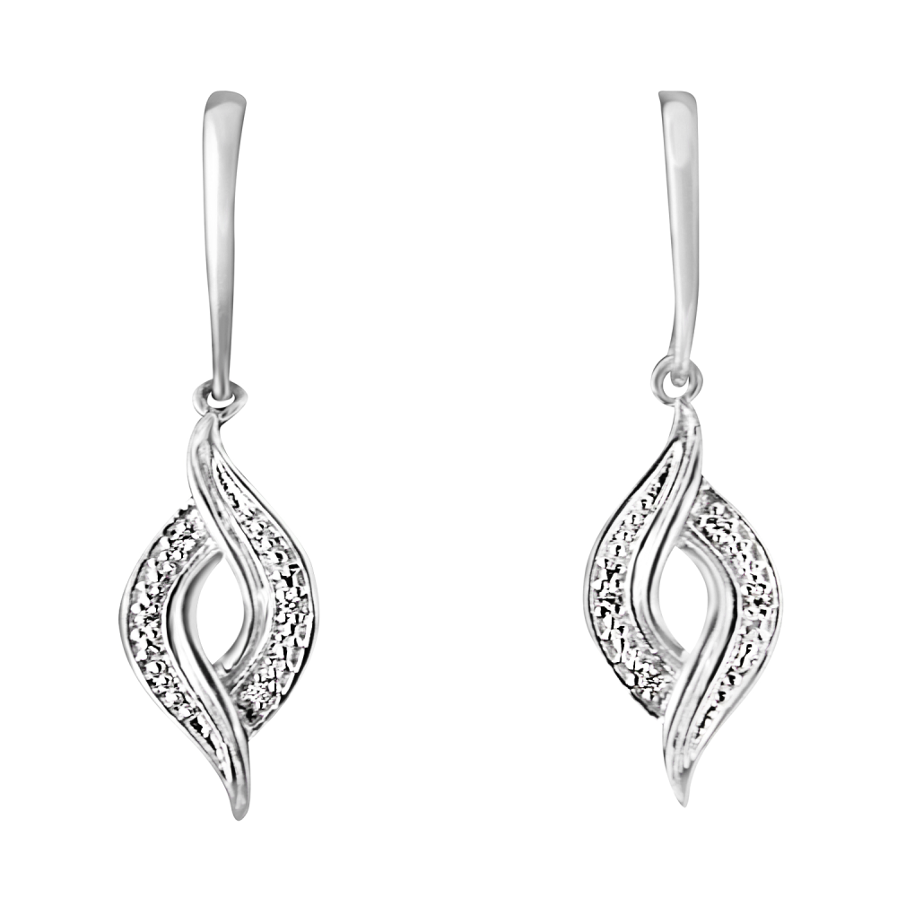 Sterling Silver 0.05ct TDW Round Cut Diamond Drop Earrings (H-I,I2)