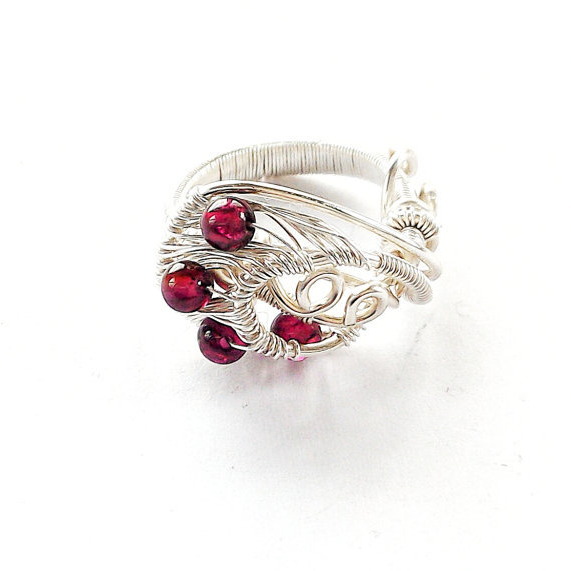 Amazing and Bright Garnet Ring