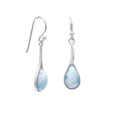 Rhodium Plated Pear Drop Larimar Earrings