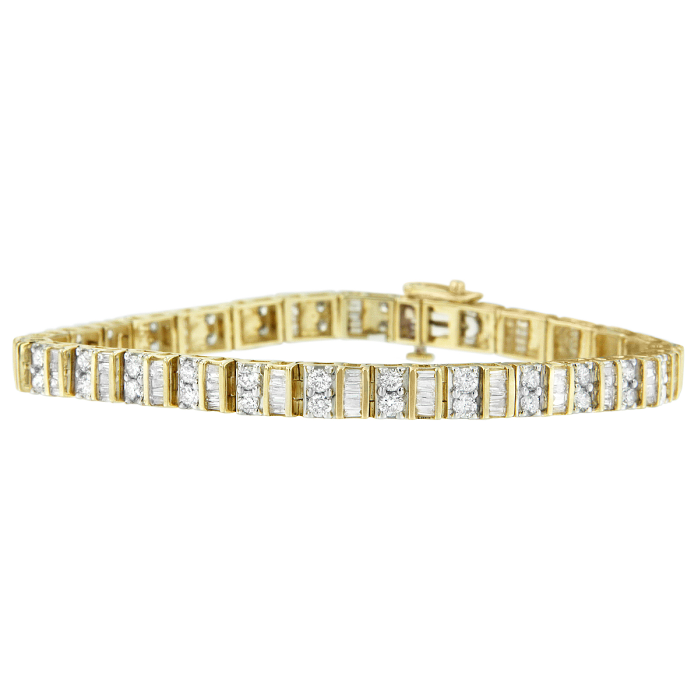Handsome 14K Yellow 4ct TDW Baguette and Round-Cut Diamond Tennis Bracelet (I-J, I1-I2)